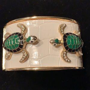 White Faux Leather & Goldtone Turtle Cuff Bracelet